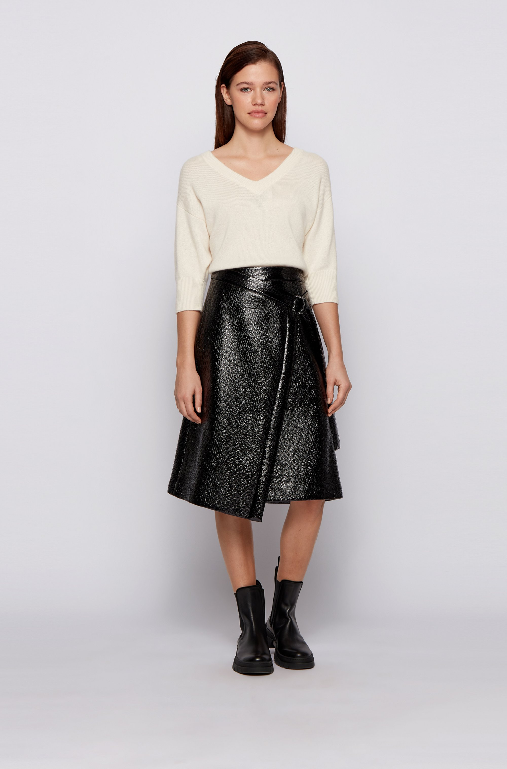 Wrap-style skirt in lacquered crocodile-print faux leather