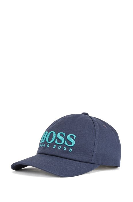 Cotton-twill cap with 3D logo embroidery, Blue