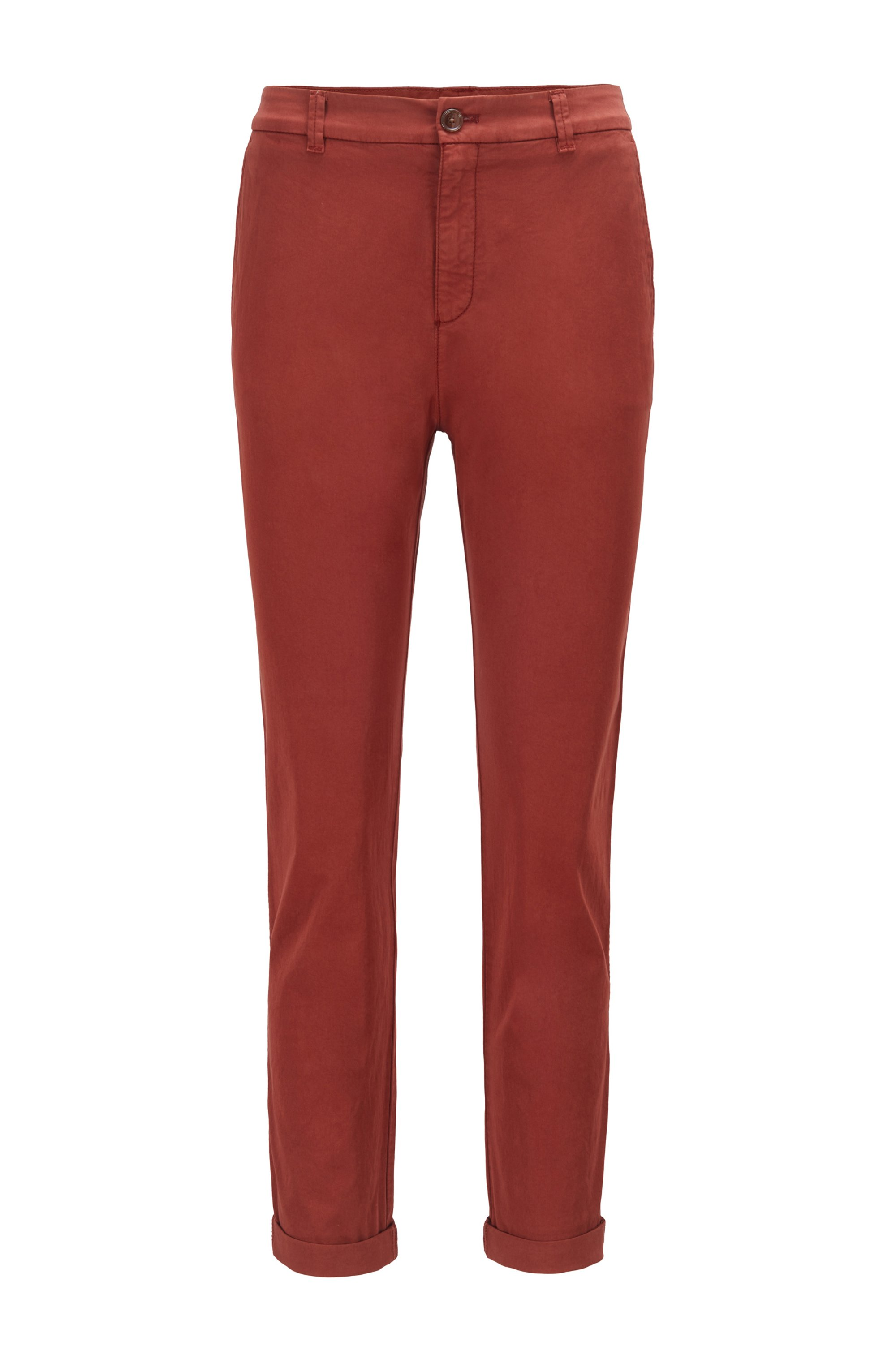 Regular-fit chinos in organic stretch cotton, Brown