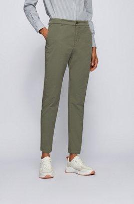 Regular-fit chinos in organic stretch cotton, Dark Green
