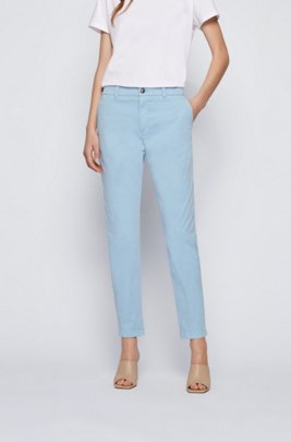 Regular-fit chinos in organic stretch cotton, Light Blue