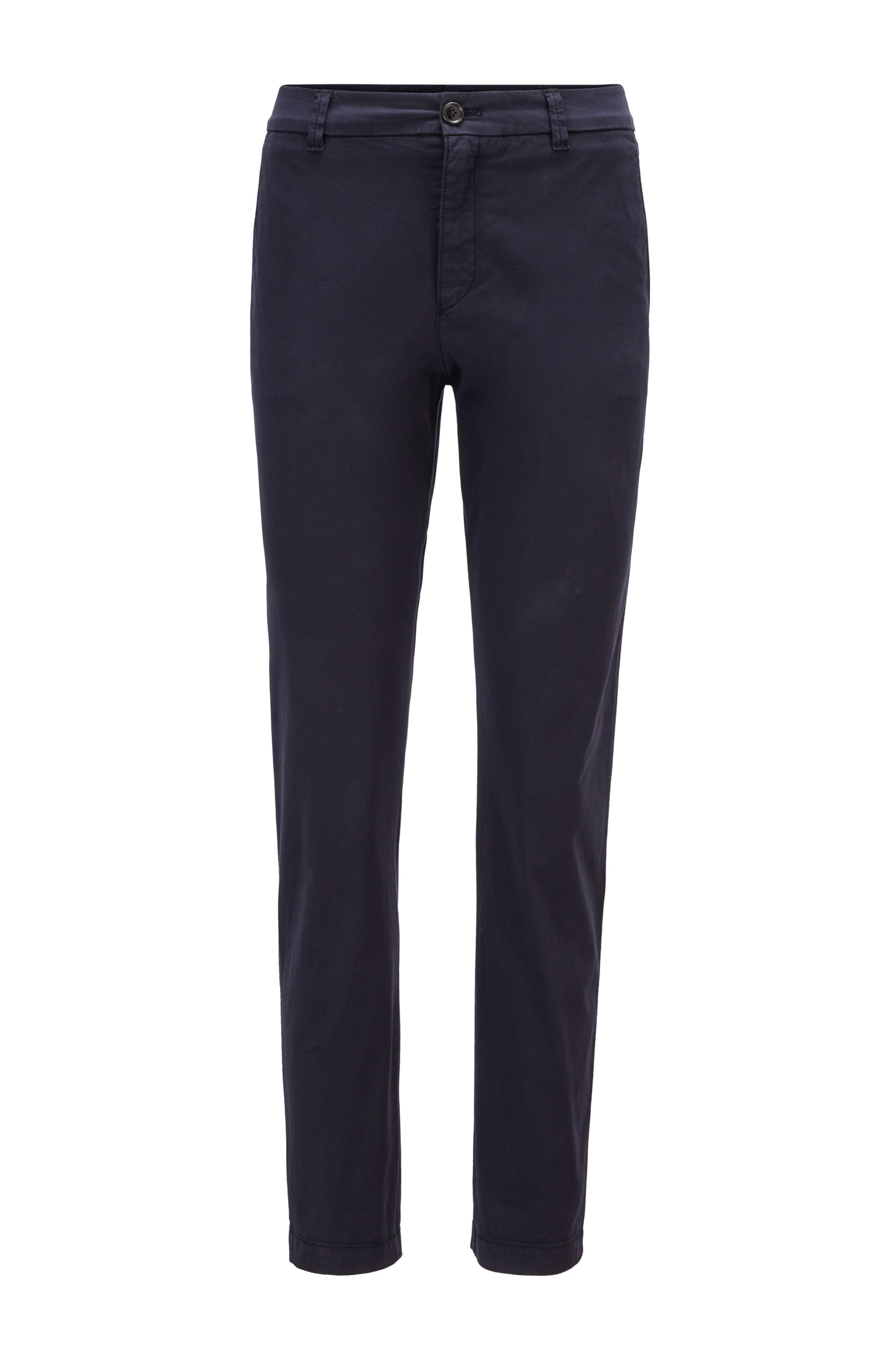 Regular-fit chinos in organic stretch cotton, Dark Blue