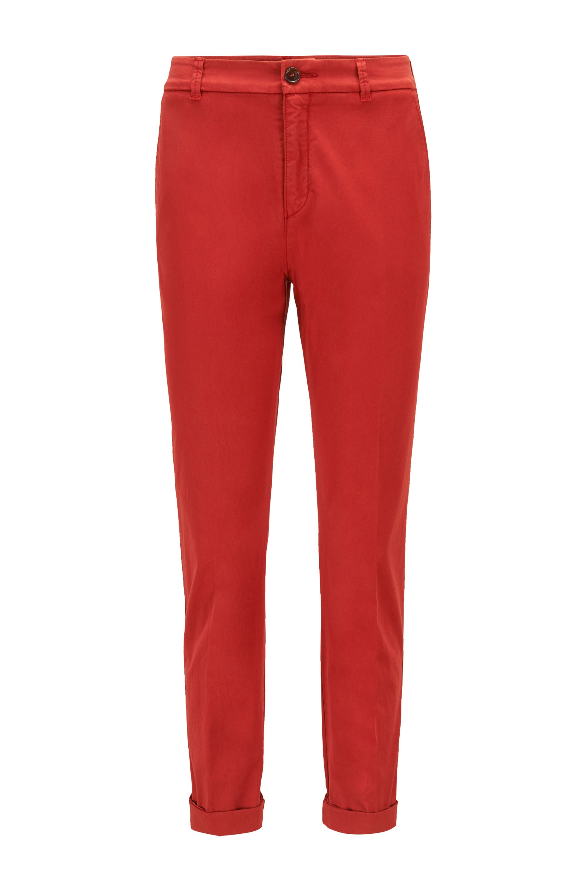 Regular-fit chinos in organic stretch cotton, Red