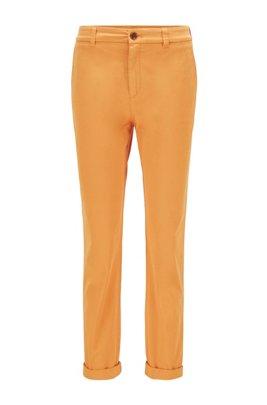 Regular-fit chinos in organic stretch cotton, Light Yellow