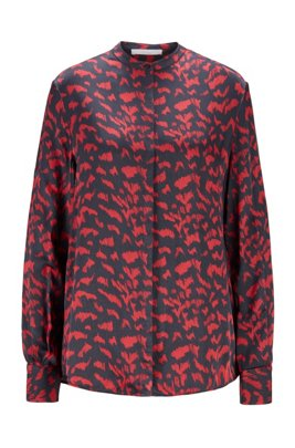 Collection-print relaxed-fit blouse with stand collar, Patterned
