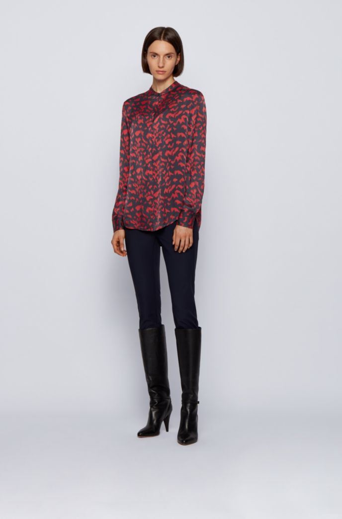 Collection-print relaxed-fit blouse with stand collar