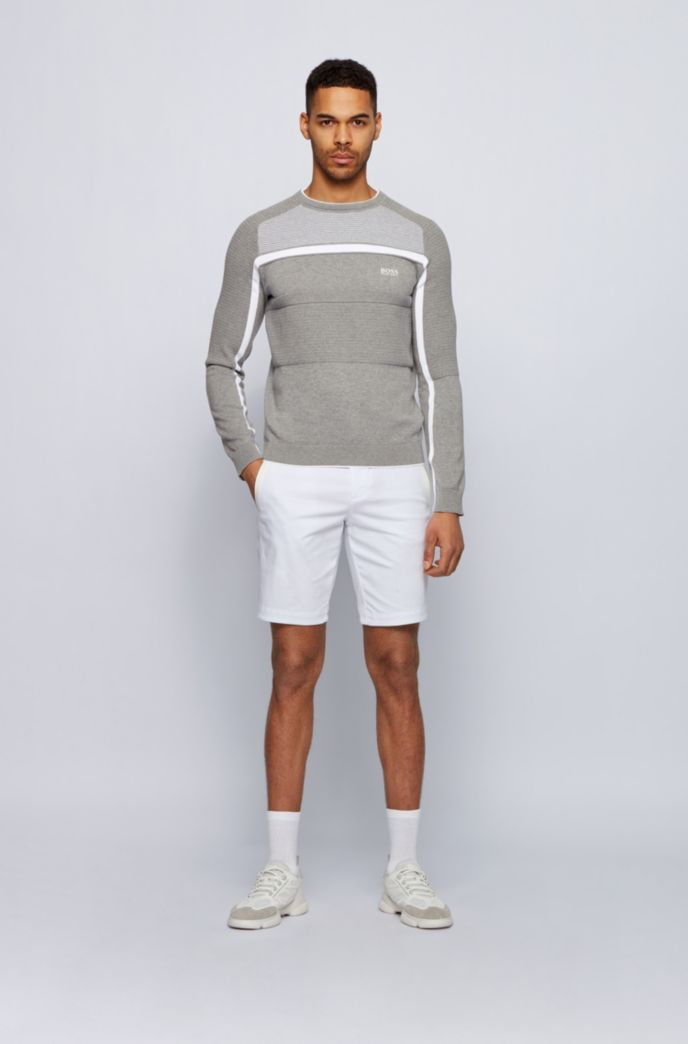 Organic-cotton knitted sweater with block structures