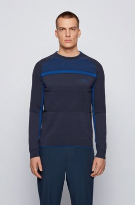 Organic-cotton knitted sweater with block structures, Dark Blue