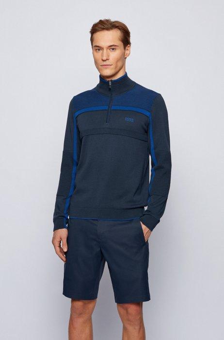 Pull en coton biologique avec encolure zippée et détails intarsia, Bleu foncé