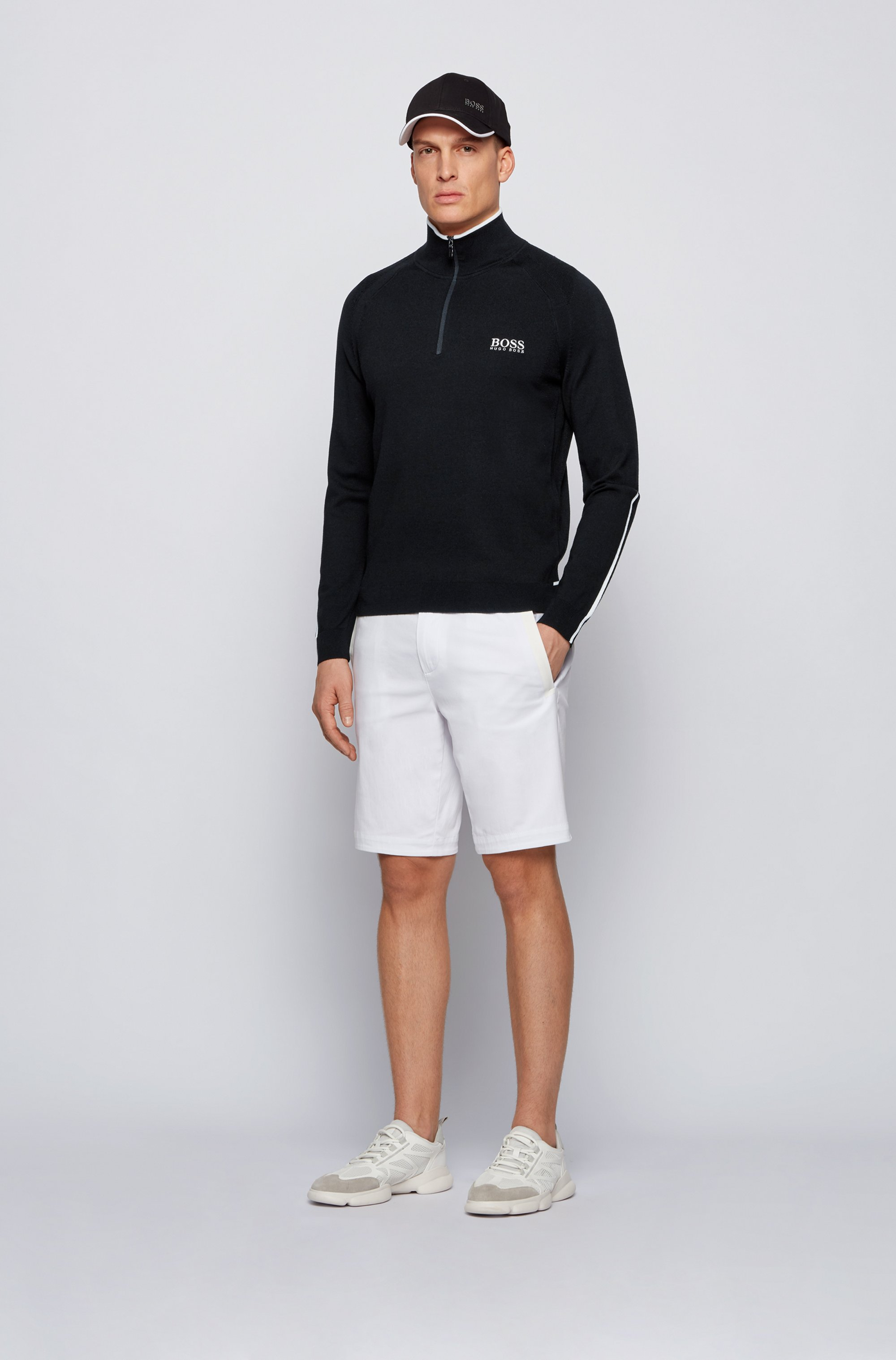 Regular-fit zip-neck sweater with logo embroidery