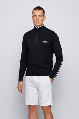 Regular-fit zip-neck sweater with logo embroidery, Black
