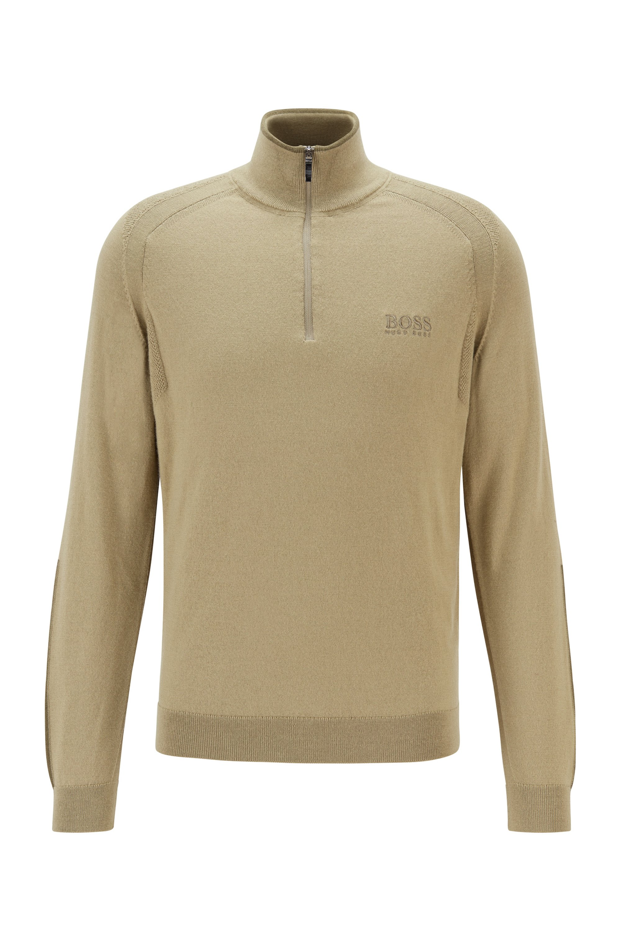 Regular-fit zip-neck sweater with logo embroidery, Beige
