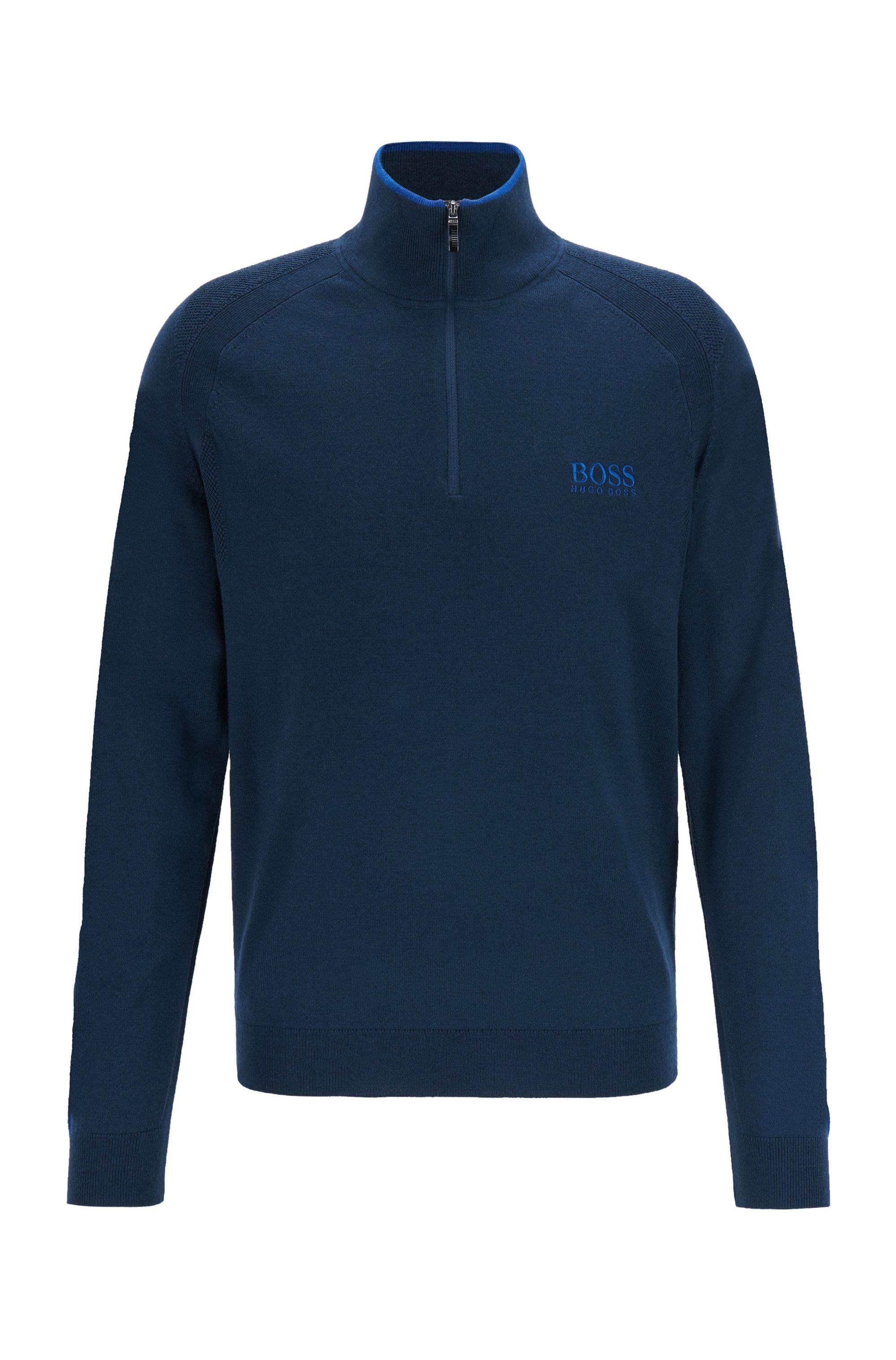 Regular-fit trui met ritskraag en logostiksel, Donkerblauw