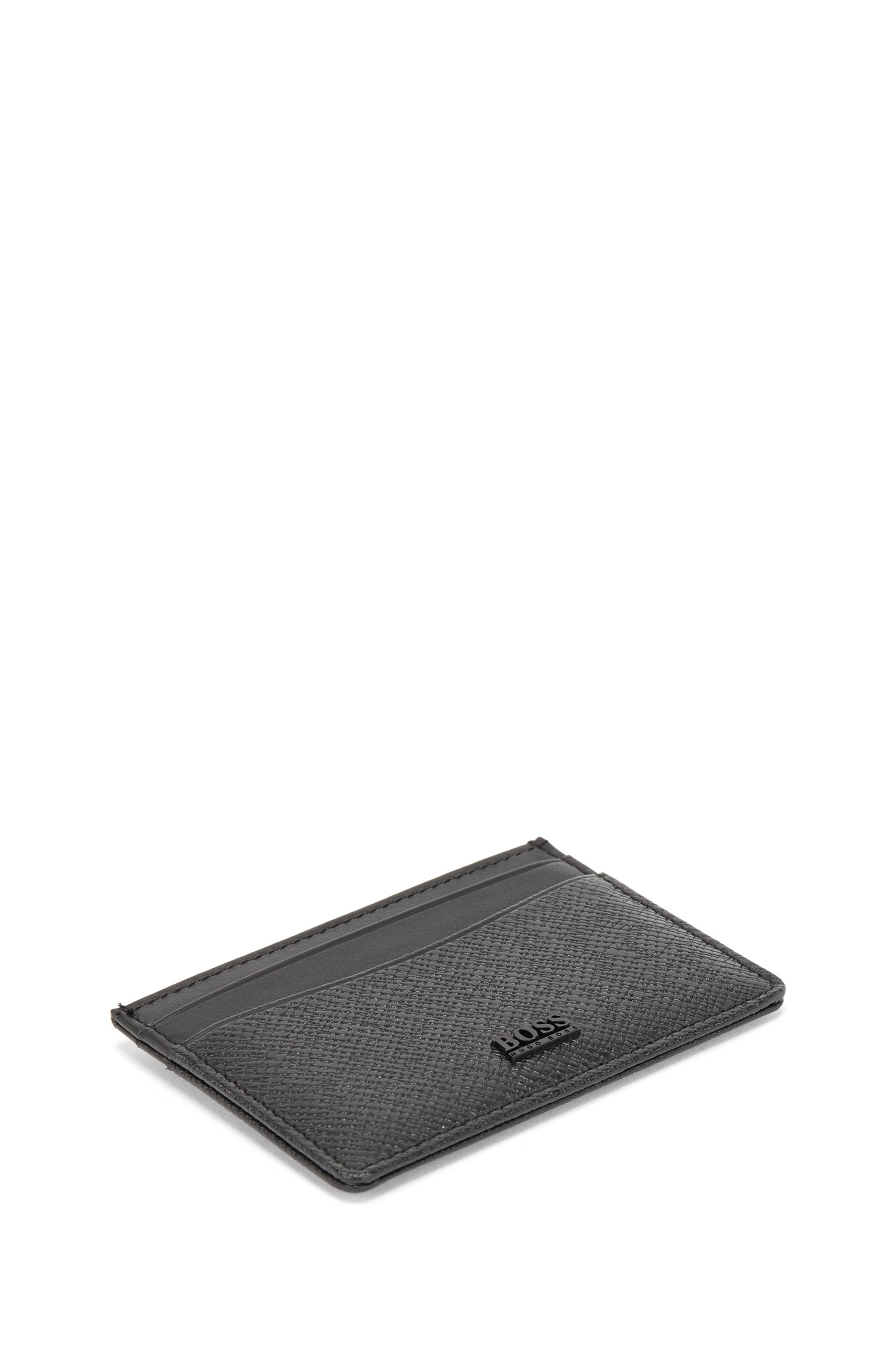 Signature Collection leather card holder with palmellato embossing