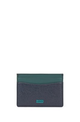 Signature Collection leather card holder with palmellato embossing, Dark Blue