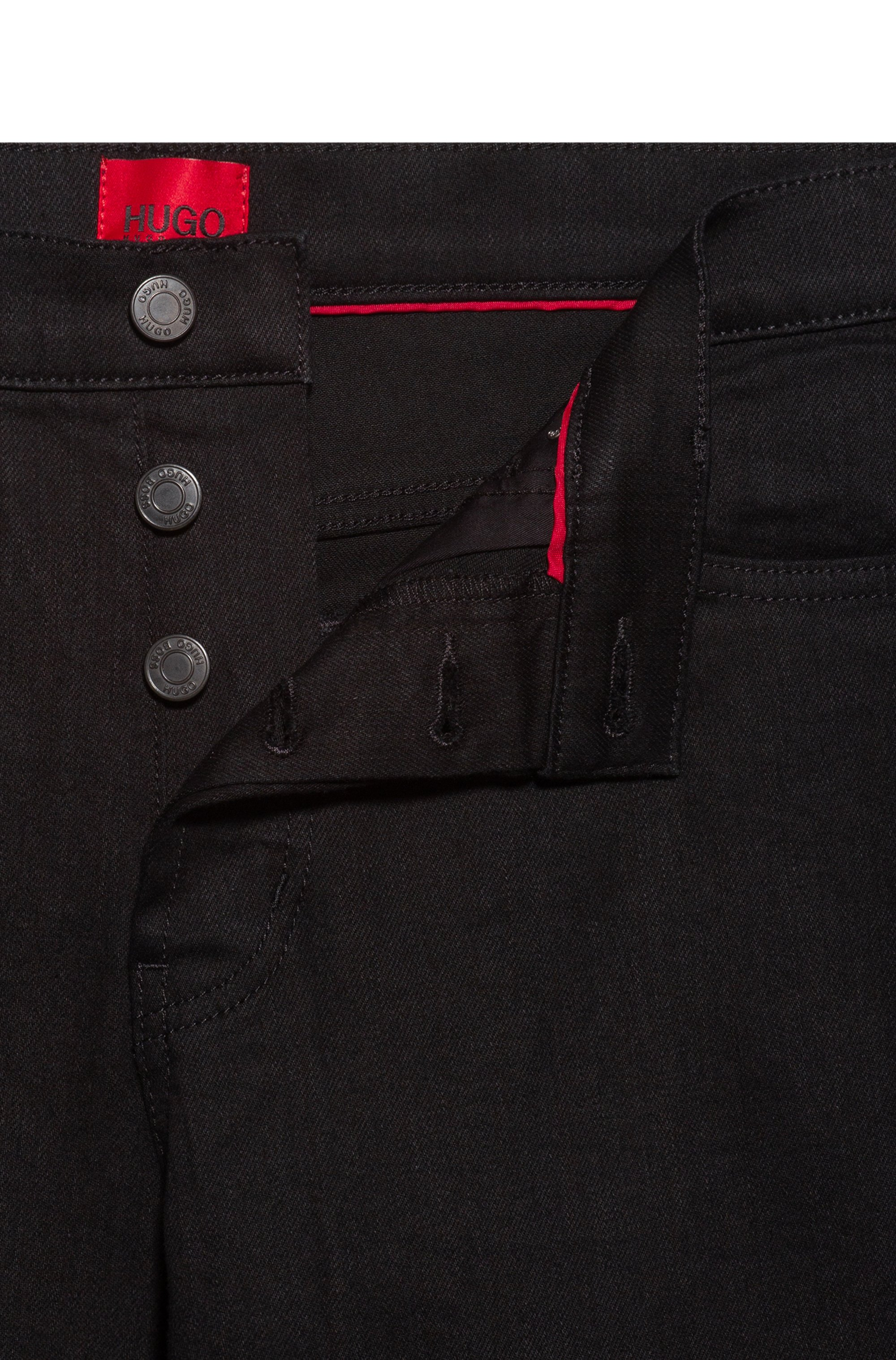 Tapered-fit jeans in black stretch denim