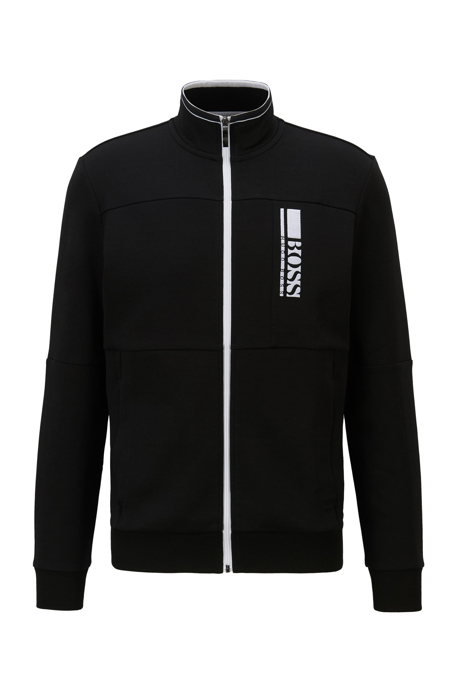 Regular-fit sweatshirt with colour-block logo embroidery, Black
