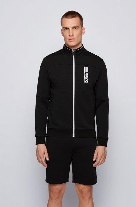 Regular-Fit Sweatshirt mit gesticktem Colour-Block-Logo, Schwarz