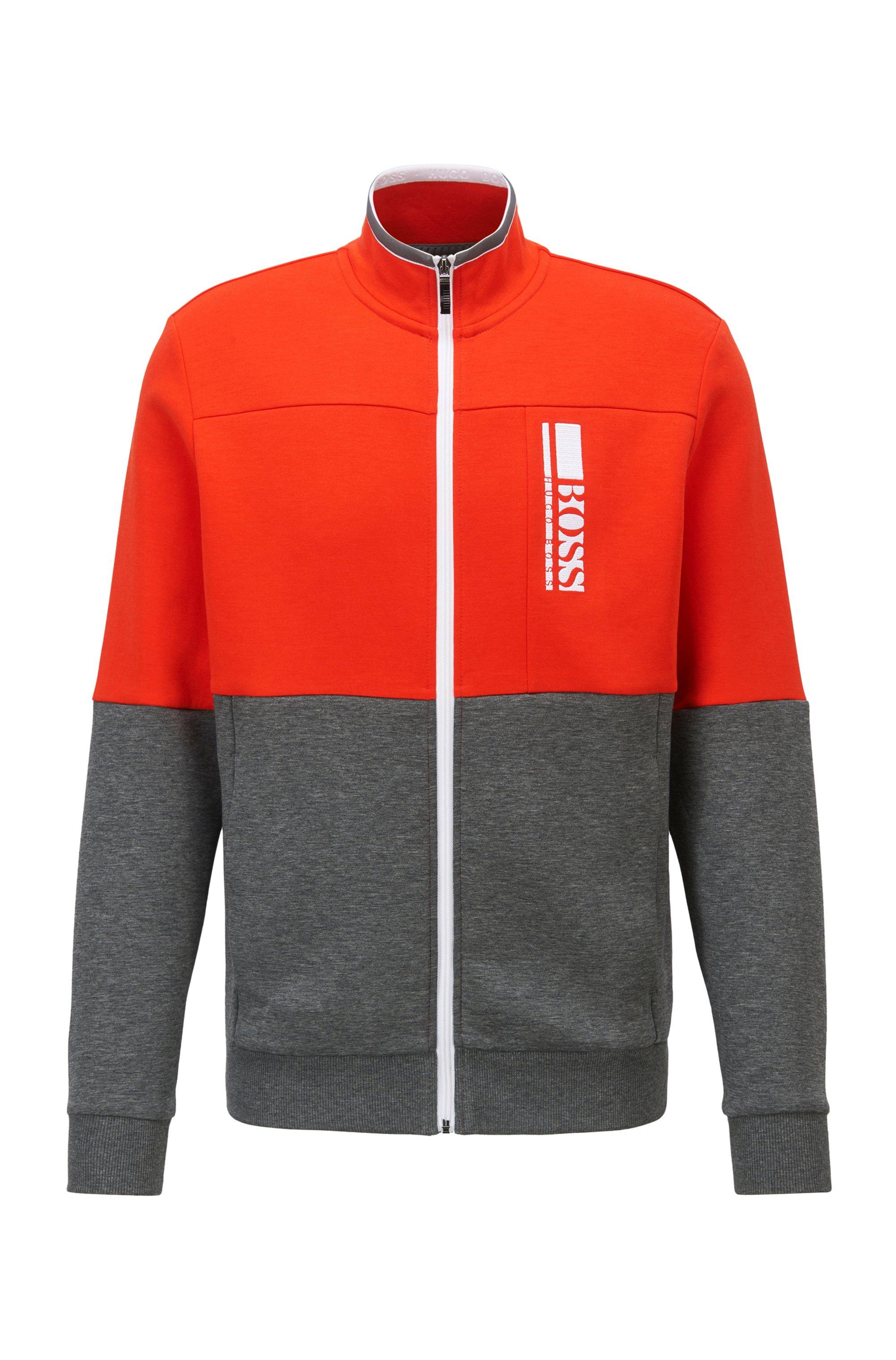 Regular-Fit Sweatshirt mit gesticktem Colour-Block-Logo, Grau