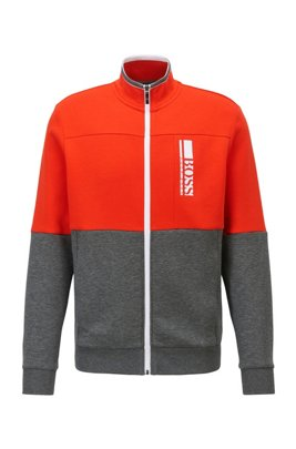 Regular-fit sweatshirt with colour-block logo embroidery, Grey