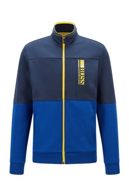 Regular-fit sweatshirt with colour-block logo embroidery, Dark Blue
