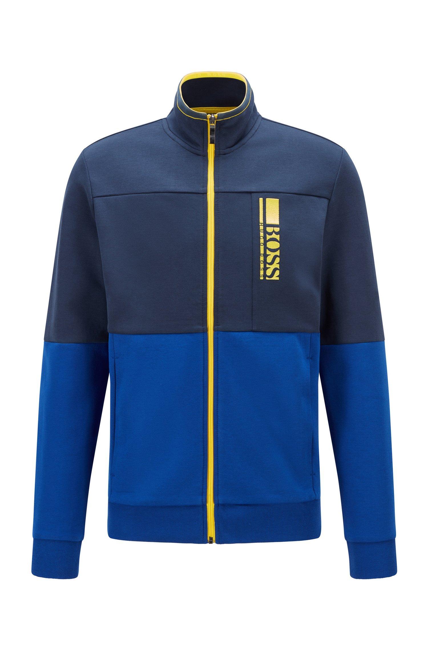Sweat Regular Fit avec logo color block brodé, Bleu foncé