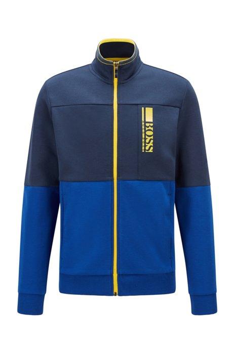 Regular-fit sweatshirt with colour-block logo embroidery, Dark Blue