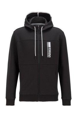 Interlocked sweater met capuchon, ritssluiting en logo in color-blocking, Zwart