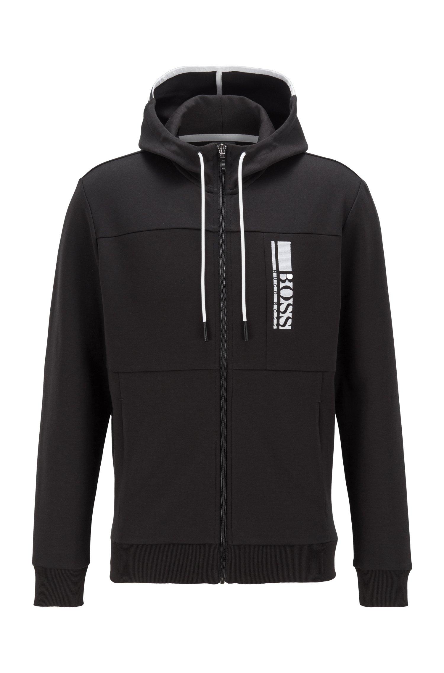 Interlock zip-through hooded sweatshirt with colour-block logo, Black