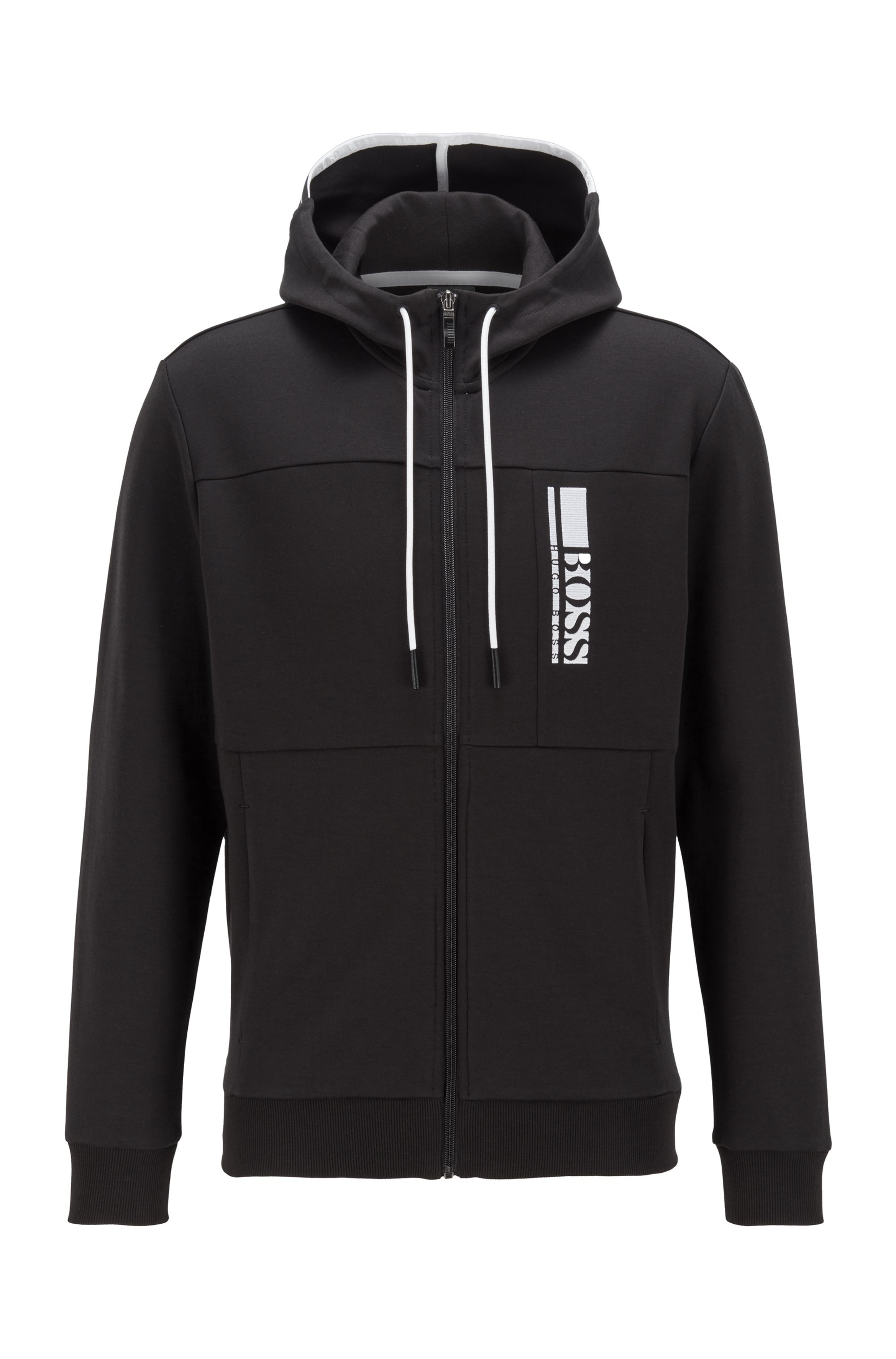 Interlock zip-through hooded sweatshirt with colour-block logo, Black