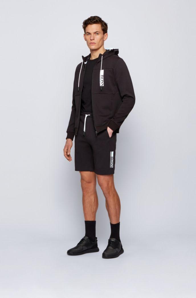 Interlock zip-through hooded sweatshirt with colour-block logo
