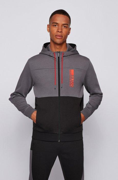 Sweat à capuche zippé en tissu interlock avec logo color block, Noir