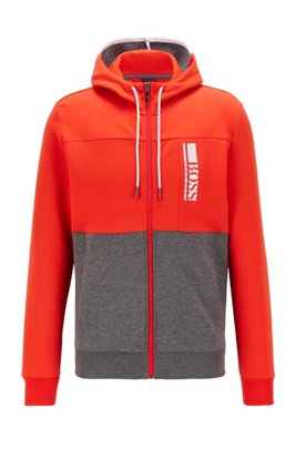 Interlock zip-through hooded sweatshirt with colour-block logo, Red