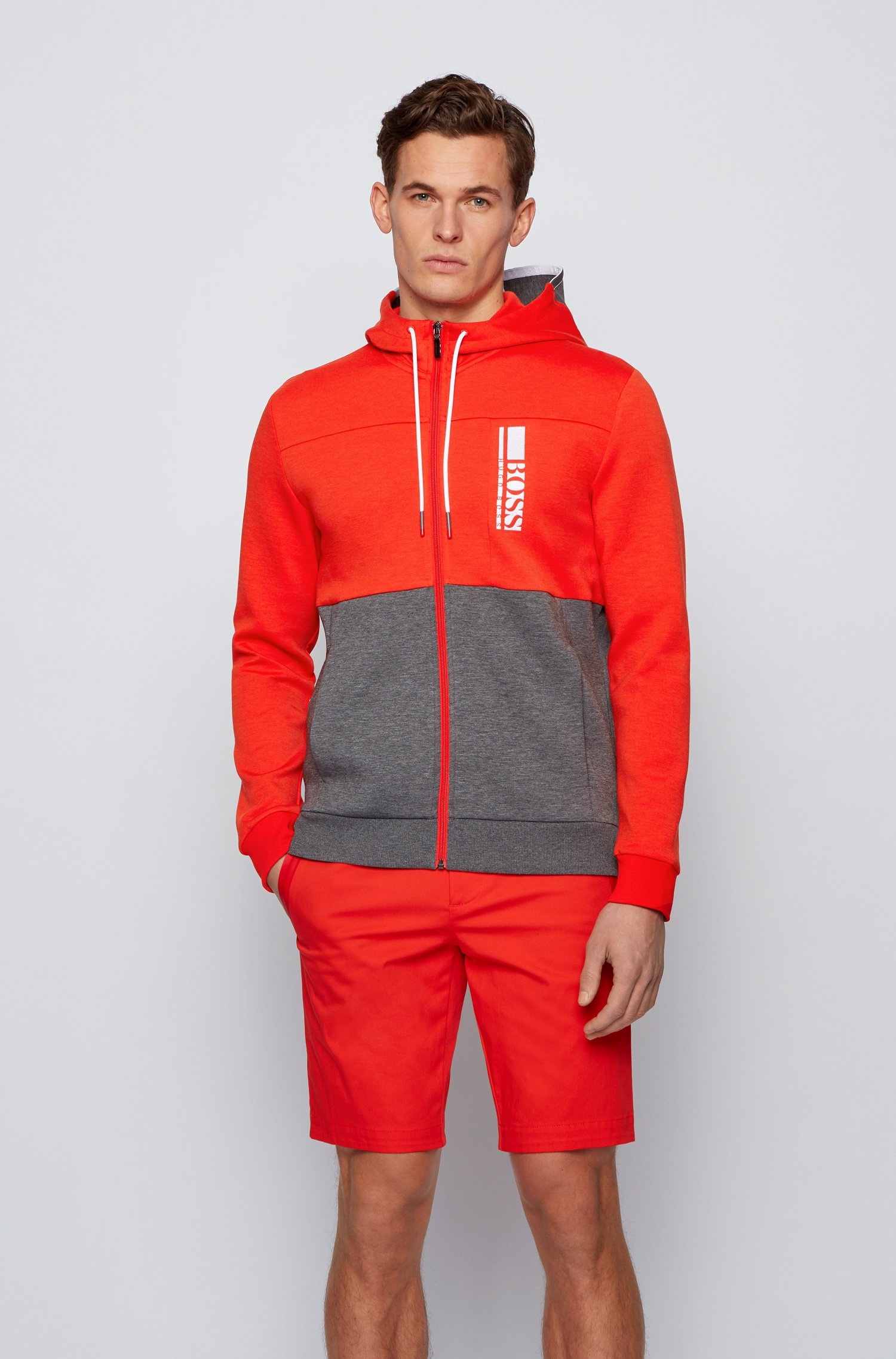 Sweat à capuche zippé en tissu interlock avec logo color block, Rouge