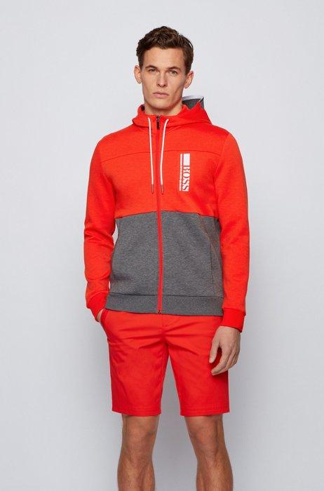 Interlock zip-through hooded sweatshirt with colour-block logo, Red