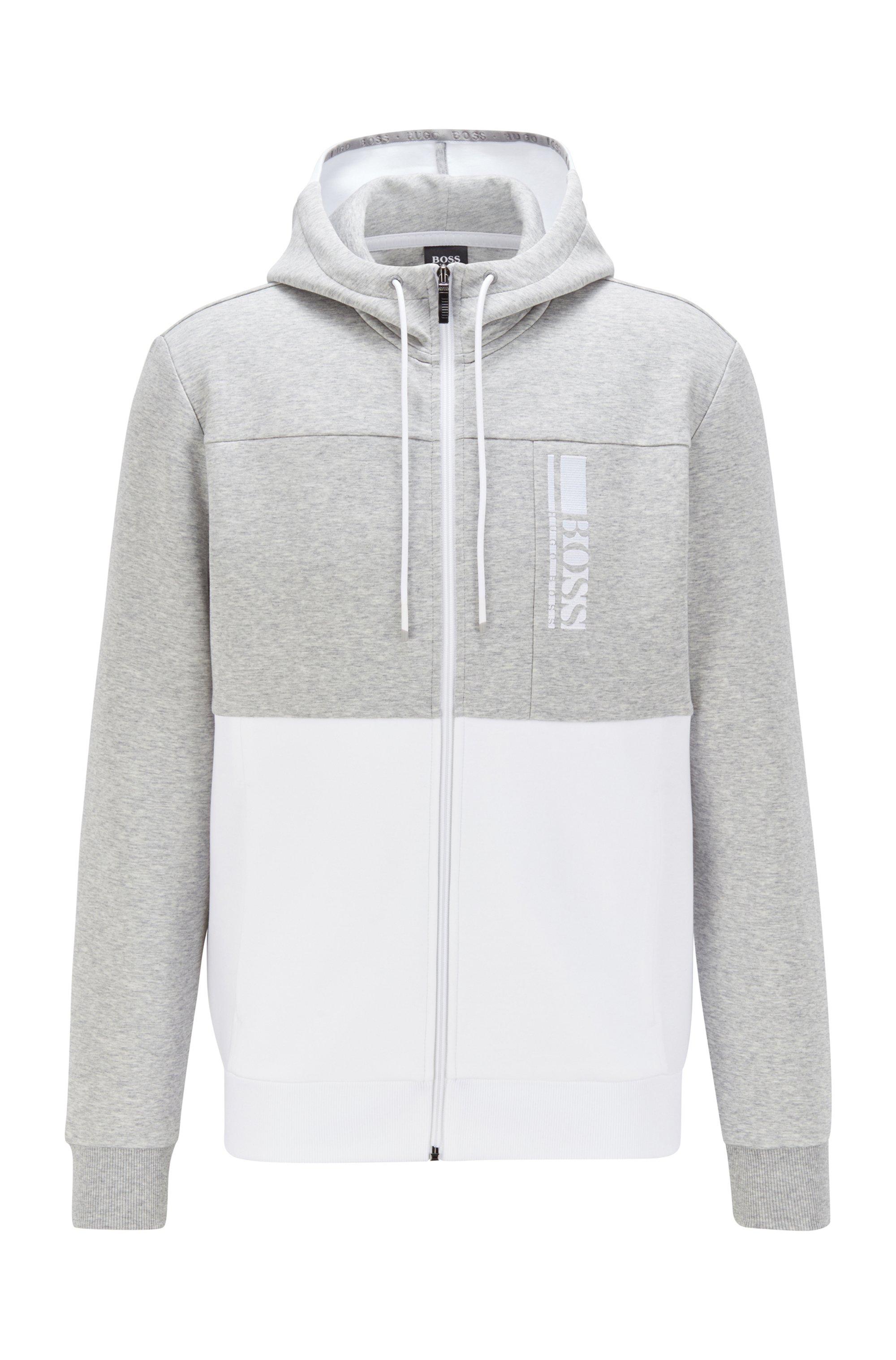 Interlocked sweater met capuchon, ritssluiting en logo in color-blocking, Grijs