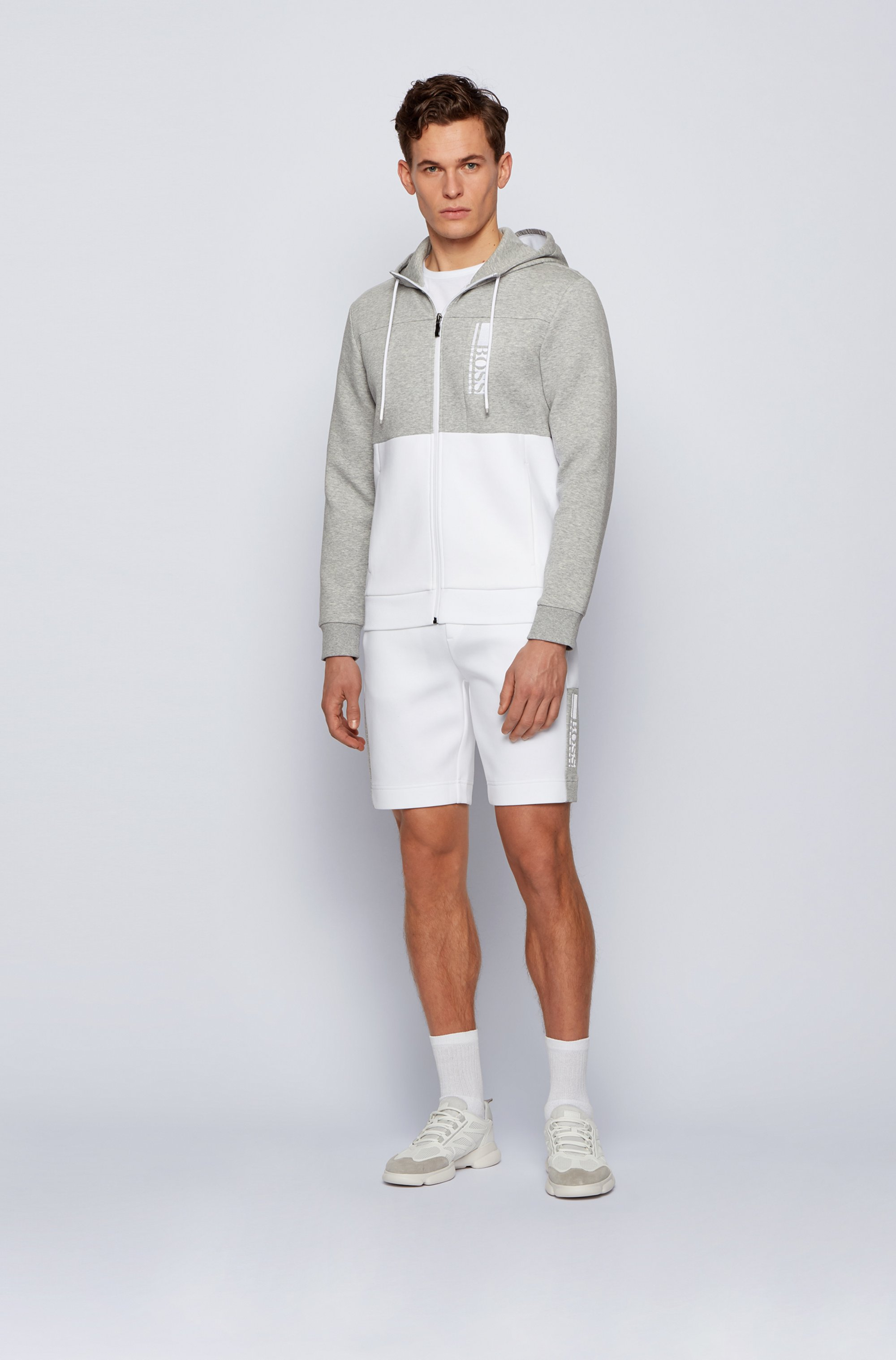 Interlock zip-through hooded sweatshirt with colour-block logo