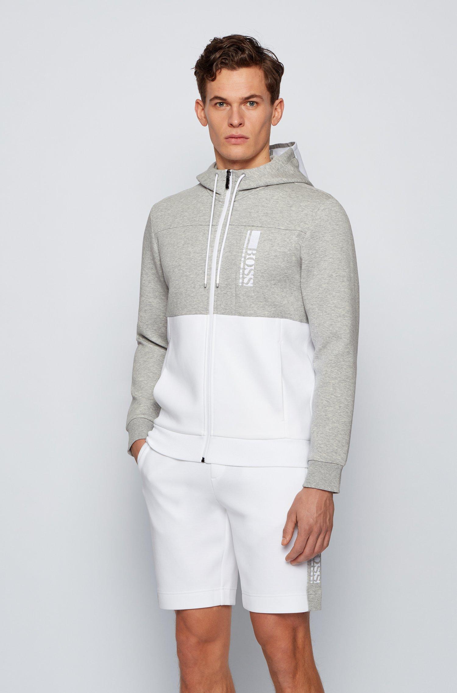 Sweat à capuche zippé en tissu interlock avec logo color block, Gris