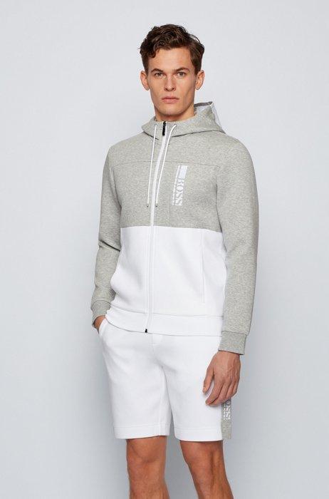 Interlock zip-through hooded sweatshirt with color-block logo, White