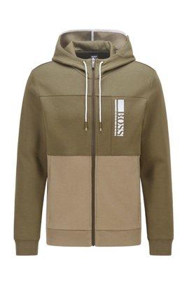 Interlock zip-through hooded sweatshirt with colour-block logo, Dark Green