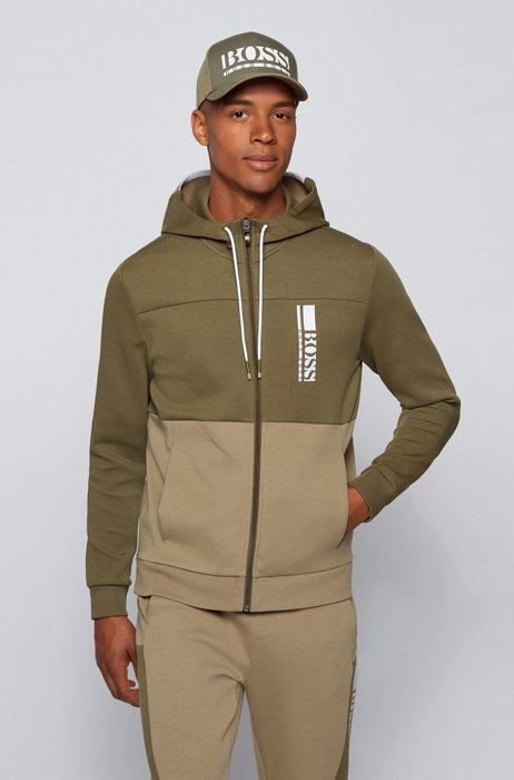 Kapuzen-Sweatshirt aus Interlock mit Reißverschluss und Colour-Block-Logo, Dunkelgrün
