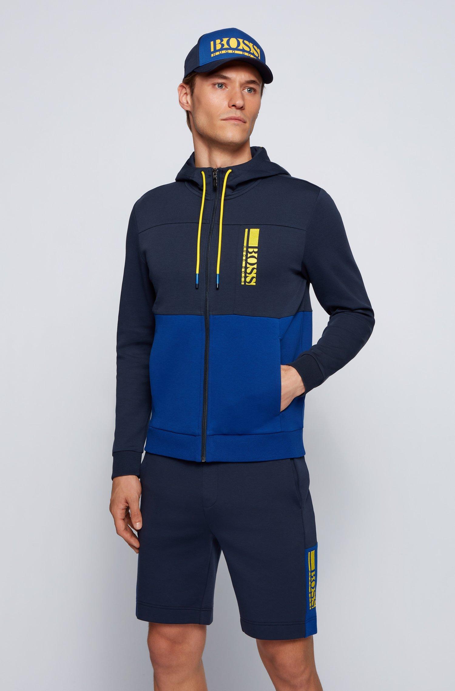 Sweat à capuche zippé en tissu interlock avec logo color block, Bleu foncé