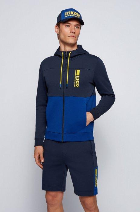 Interlocked sweater met capuchon, ritssluiting en logo in color-blocking, Donkerblauw