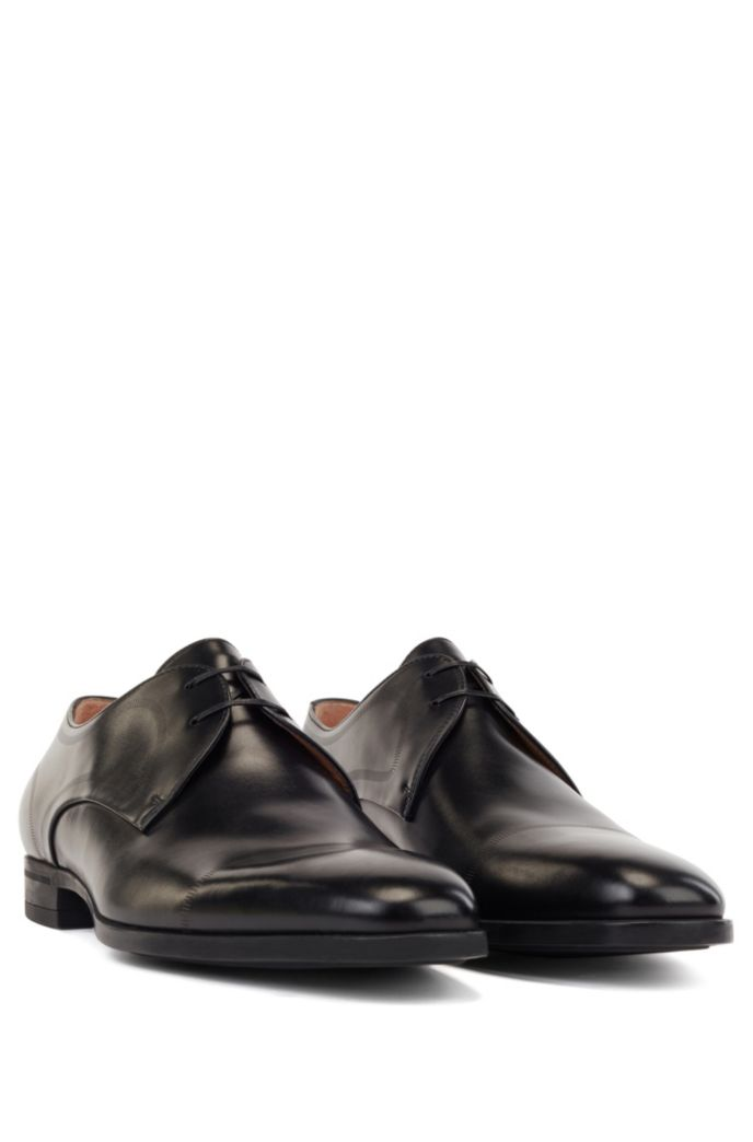 Calf-leather Derby shoes with stitch detailing
