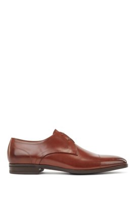Calf-leather Derby shoes with stitch detailing, Light Brown