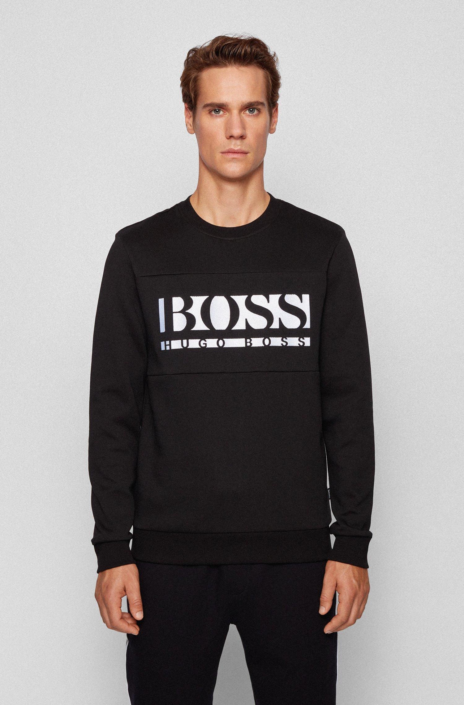 Slim-fit logo sweatshirt with colour-blocking, Black