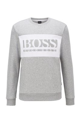 Slim-fit logo sweatshirt with colour-blocking, Light Grey