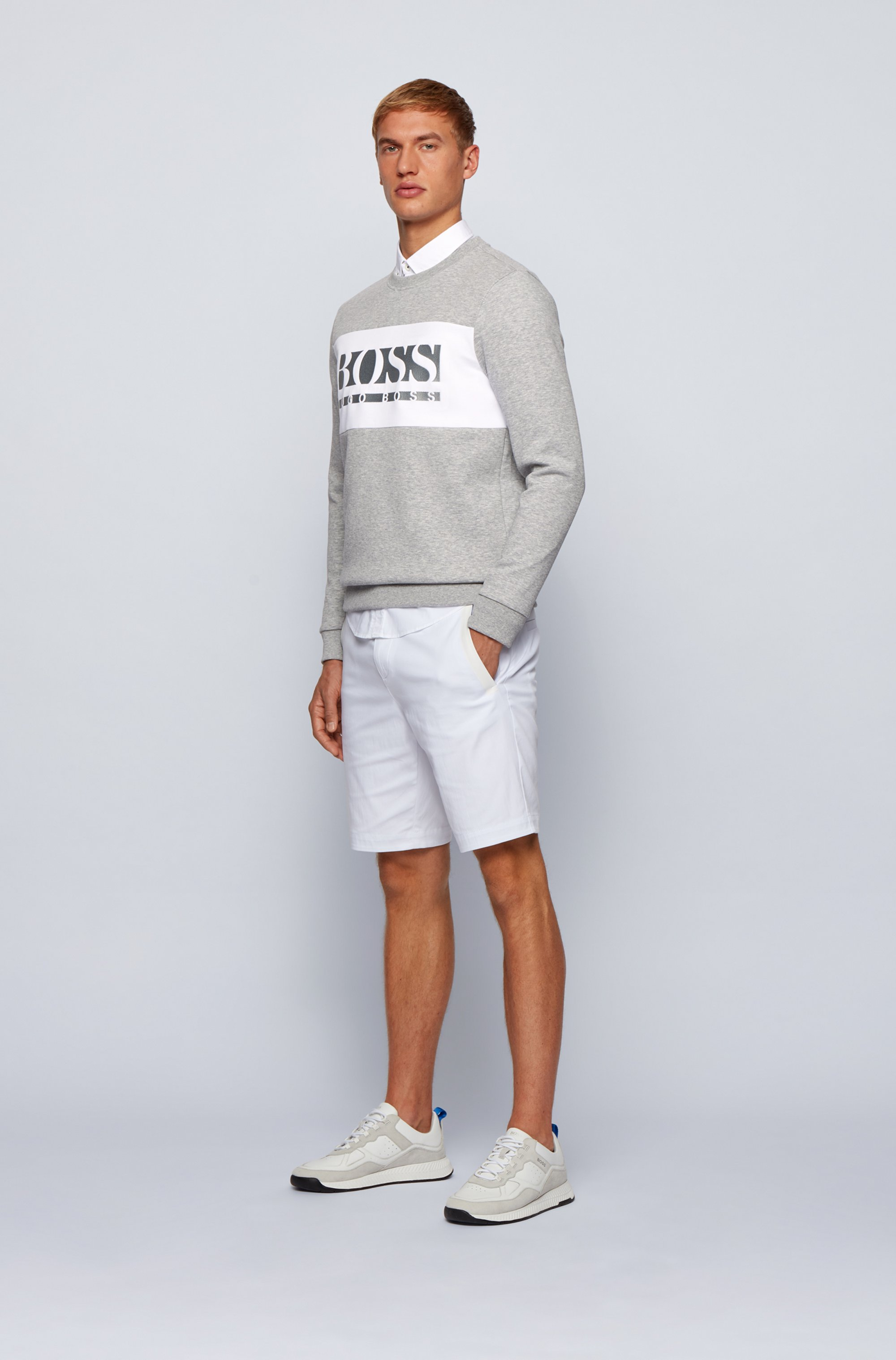 Slim-fit logo sweatshirt with colour-blocking