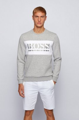 Slim-fit logo sweatshirt with colour-blocking, Light Grey