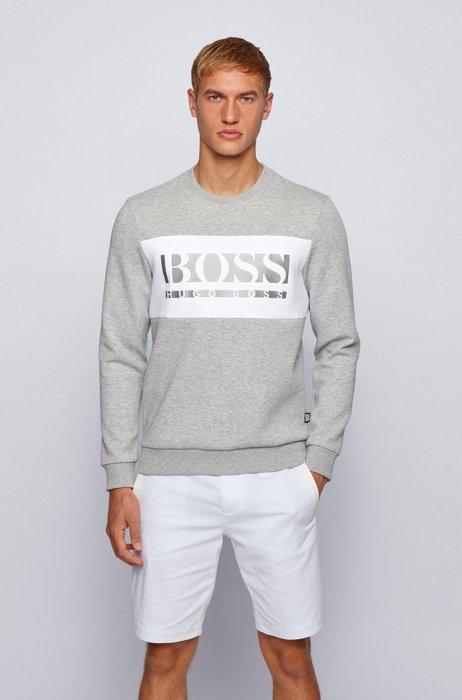 Slim-fit sweater met color-blocking en logo, Lichtgrijs